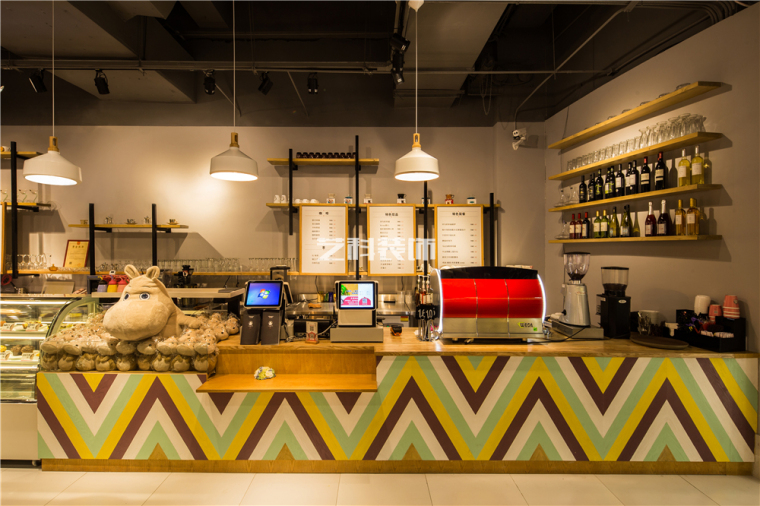 青岛咖啡店设计装修案例——河马的幸福生活主题咖啡馆