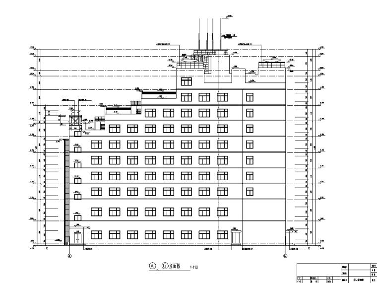 现代高层宾馆酒店建筑设计施工图CAD-现代多层酒店建筑设计立面图