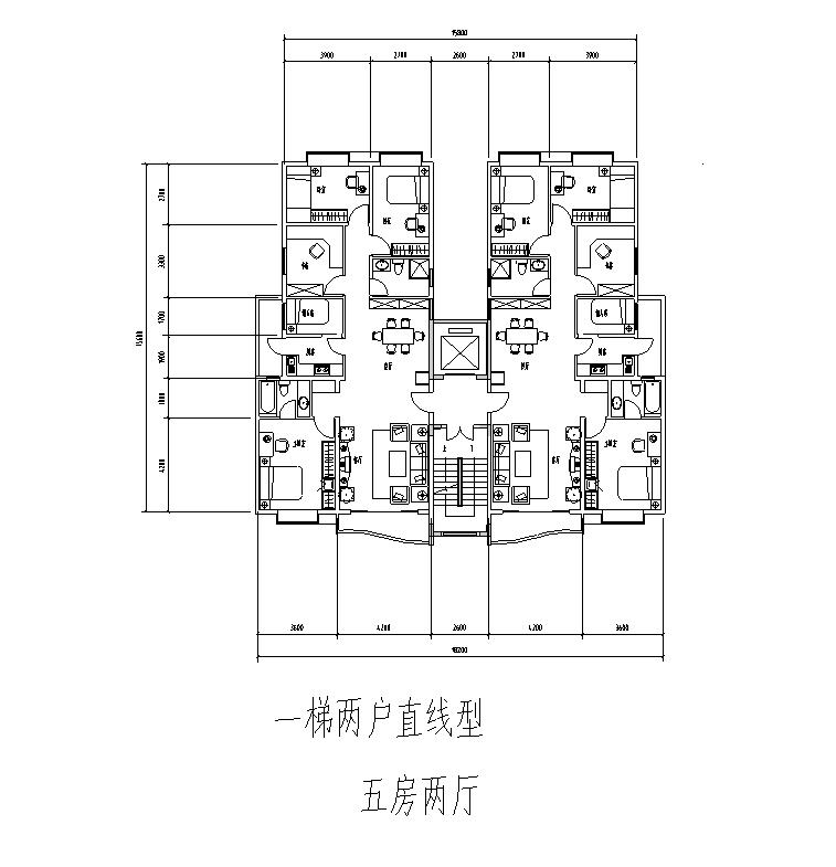 一梯两户五房两厅平面图-60种多层点式及塔式小高层户型平面图 60张