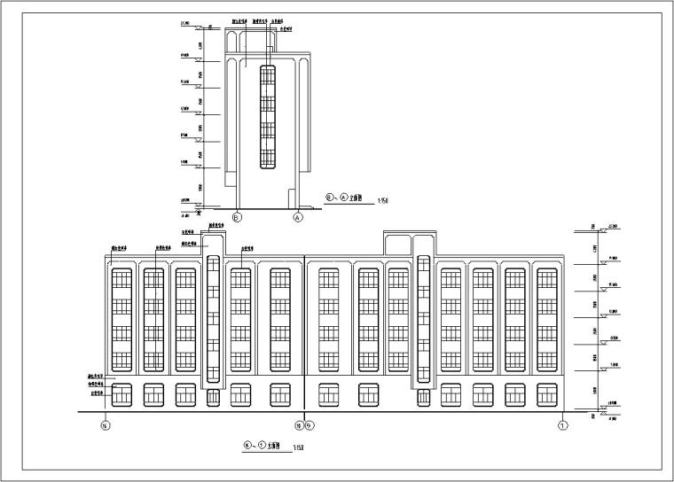 5套现代多层宾馆酒店建筑设计施工图CAD-多层宾馆酒店建筑设计立面图2