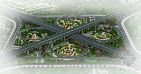 西安市三环路昆明路互通式立交景观效果图