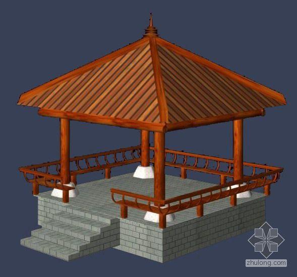 木制亭子及船、风车配景模型