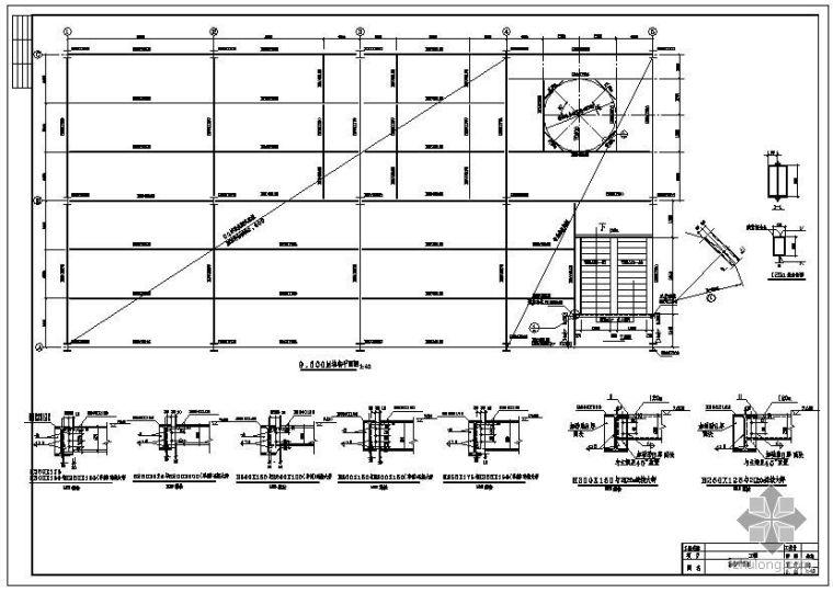 某钢结构车间结构平面布置图及节点详图