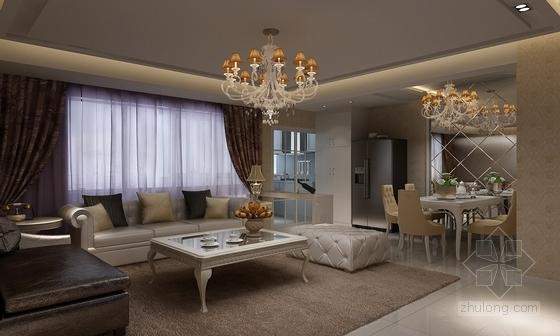 [广州]花园住宅简欧三居室样板房装修图(含效果)客厅效果图