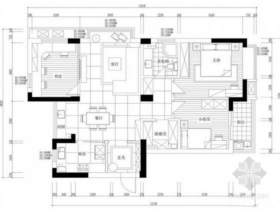 某现代简约风格133平三居室室内设计方案