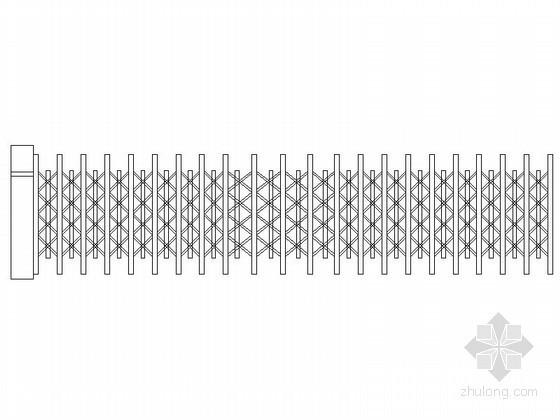 电动伸缩大门及围墙CAD图