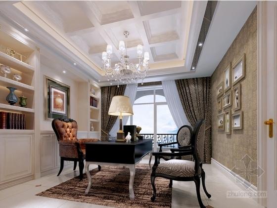 [沈阳]知名地产核心区新古典风格四居室样板间设计方案书房效果图