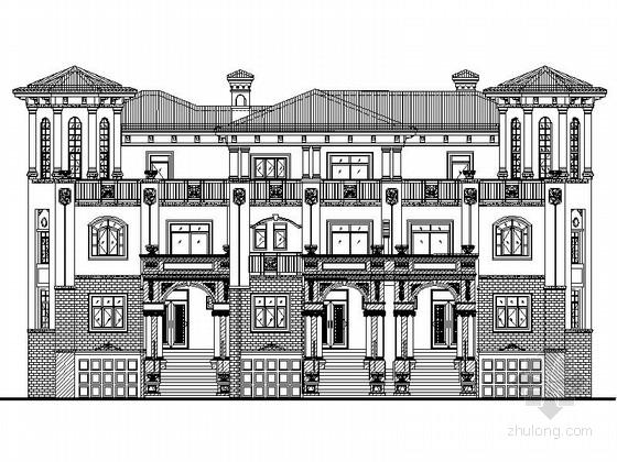 [四川]西班牙风格三错拼接联排别墅单体建筑设计施工图(知名建筑设计院)
