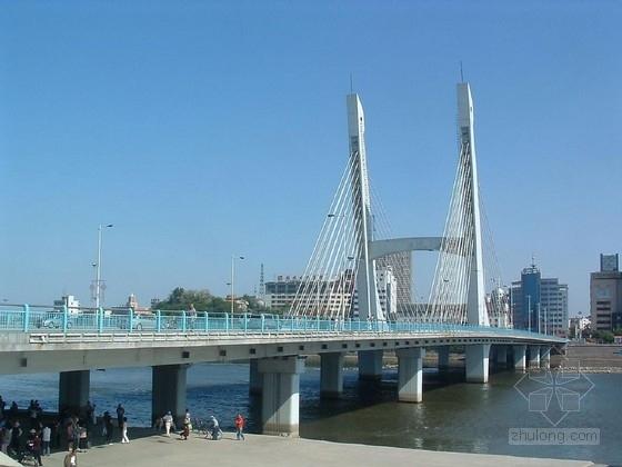 城市主干道单索面三塔斜拉桥施工图