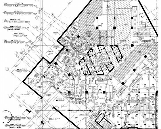 [江苏]超高连锁商业卖场空调通风排烟系统设计施工图(风冷热泵 空调机房图多)