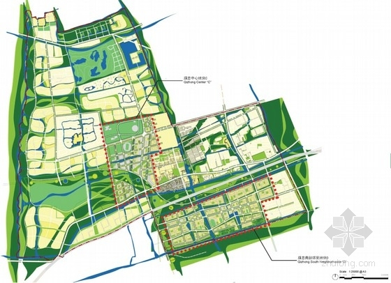 [上海]大型生态体育中心规划设计方案文本(知名事务所)-生态体育中心规划设计总平面图
