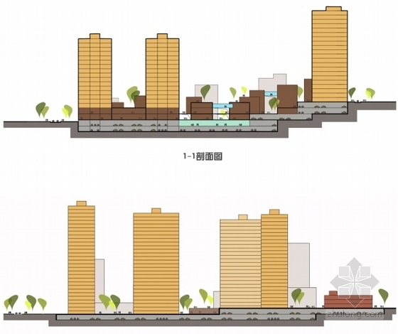 [重庆]围合式空间城市综合体规划设计方案文本(设计精彩推荐参考)-围合式空间城市综合体规划剖面图