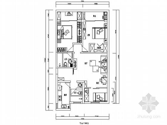 温馨现代三室两厅CAD装修图(含效果)