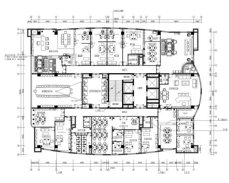 某简欧风格办公楼室内装修CAD施工图