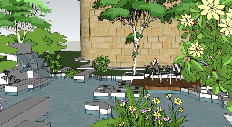小游园景观设计SU模型