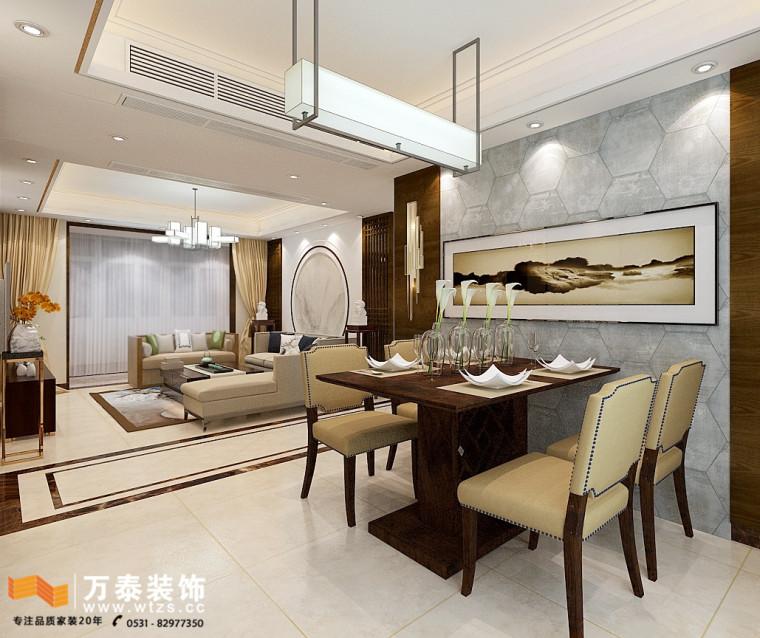 财富中心装修、济南万泰设计给业主设计最好中式混搭风格