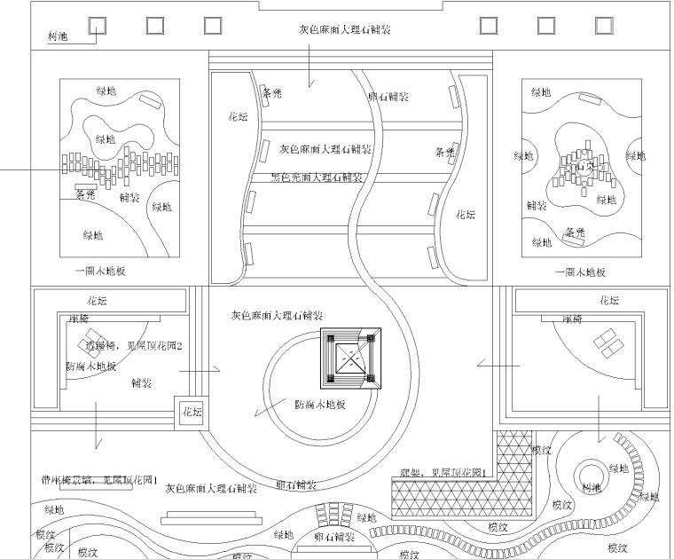 3张屋顶花园景观设计CAD平面图