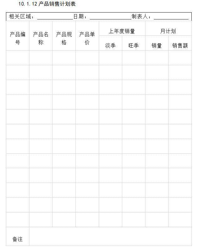 产品销售计划表