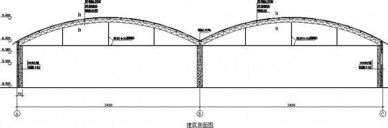 2×24米圆拱形桁架厂房建筑结构施工图