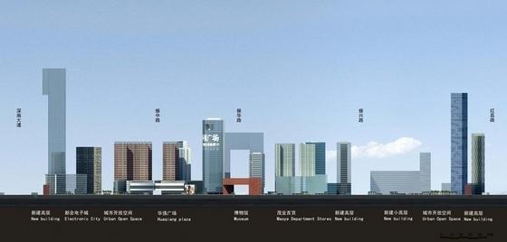 沿街地块规划及高层建筑设计立面图