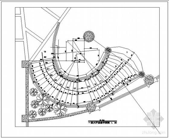 某弧形钢结构楼梯设计图