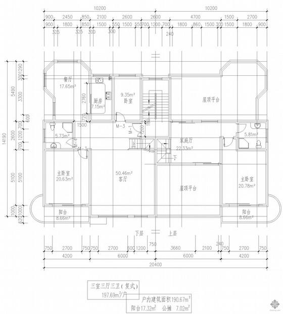 复式一梯二户三室三厅三卫户型图(198)