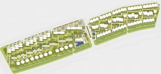 """[广东]""""编织""""主题社区道路及周围绿化景观设计方案(知名设计所双语)-总平面图"""