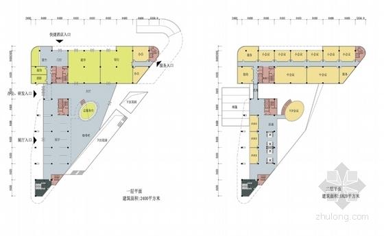 [江苏]科技园区管理服务中心建筑设计方案文本(垂直绿化)-科技园区管理服务中心各层平面图