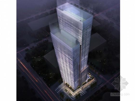 [广东]193米错层式玻璃幕墙办公楼建筑设计方案文本