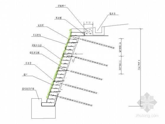 边坡绿维生态袋加土工格栅(锚杆)防护施工图
