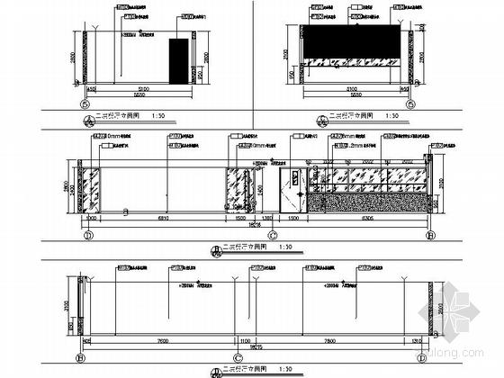 [天津]国际化金融股份制公司现代办公楼装修施工图(含实景及报价表)餐厅立面图