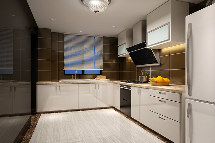 u型厨房橱柜效果图资料下载-现代简约风格厨房装修效果图