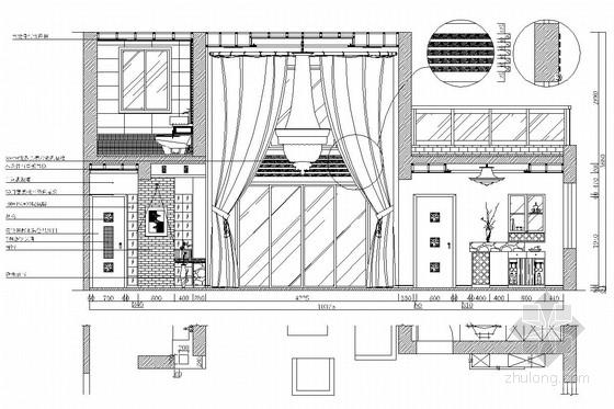 典雅中式二层别墅室内装修施工图(含效果图)客厅立面图