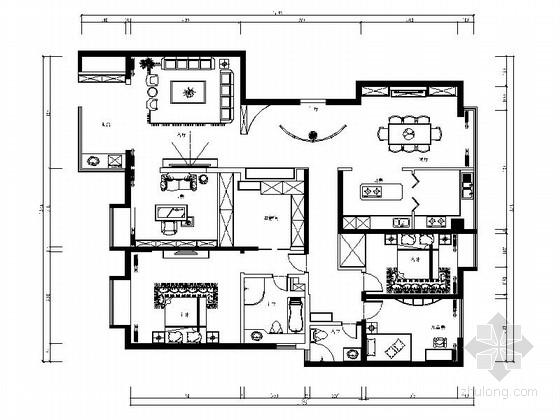 [陕西]186平米现代住宅别墅装修设计施工图(含效果)