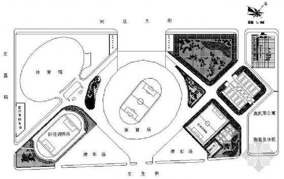 某市奥体中心绿化设计平面图