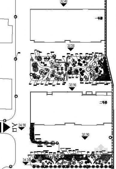 某宿舍楼绿化规划平面图
