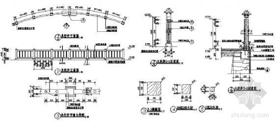 弧形木栏杆节点详图