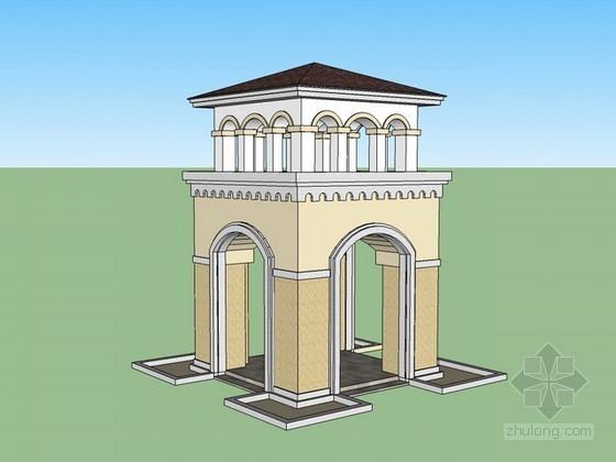 欧式景观塔sketchup模型下载
