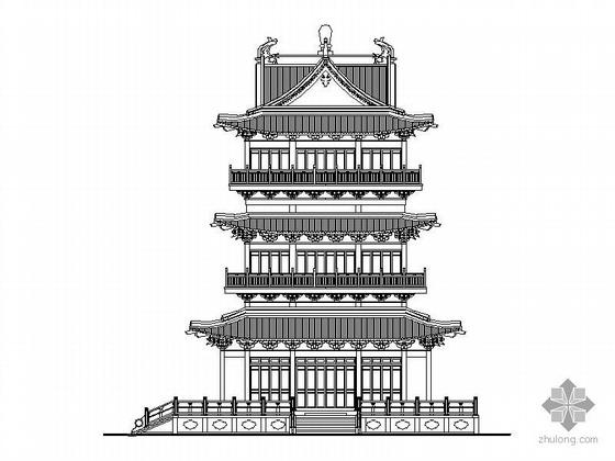 [仿古]五层楼阁建筑初步设计图(含效果图)