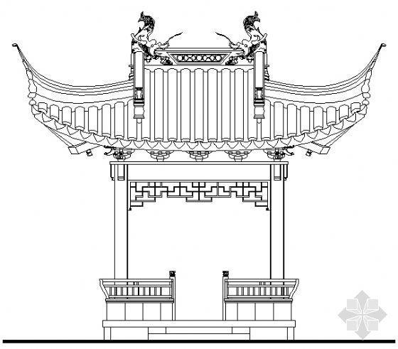 古建亭子建筑方案图系列-歇山方亭