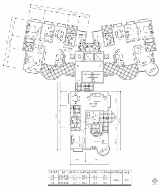 塔式高层一梯三户户型图(168/172/150)