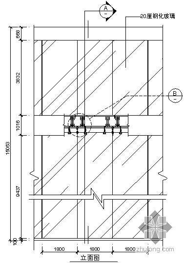 某吊挂式玻璃幕墙节点构造详图(四)(立面图)