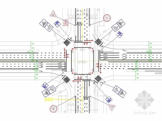 城市道路地面标线与交叉口标志牌设计图