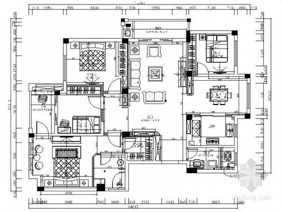 [江西]旅游度假小区高档简欧四居室样板房装修施工图(含效果)