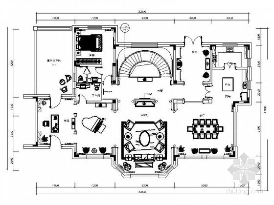 [长春]奢华欧式双层别墅设计CAD装修图