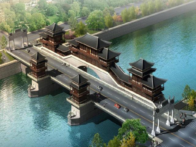 [四川]城市主干道汉式建筑形制三跨连拱人行景观廊桥设计图109张