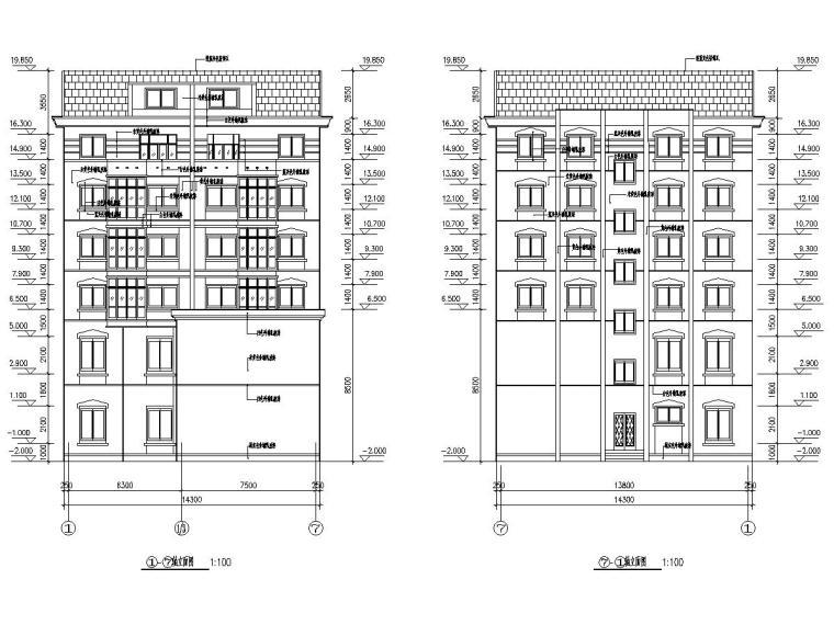 1590平六层砖混结构带底商住宅楼建筑结构图