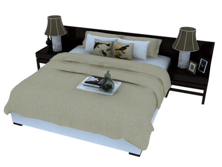 宽大双人床3D模型下载