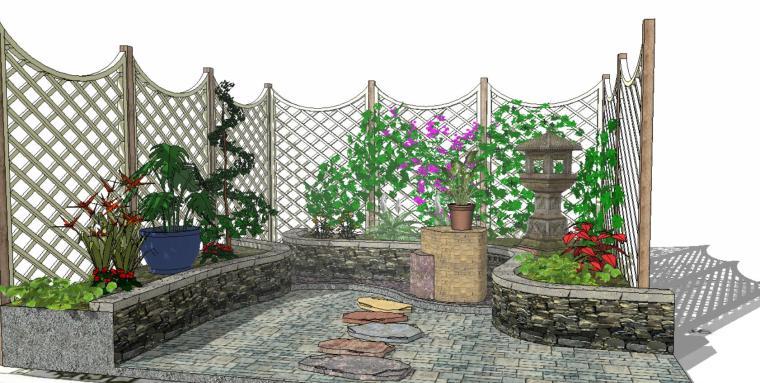 小角落庭院景观su模型设计