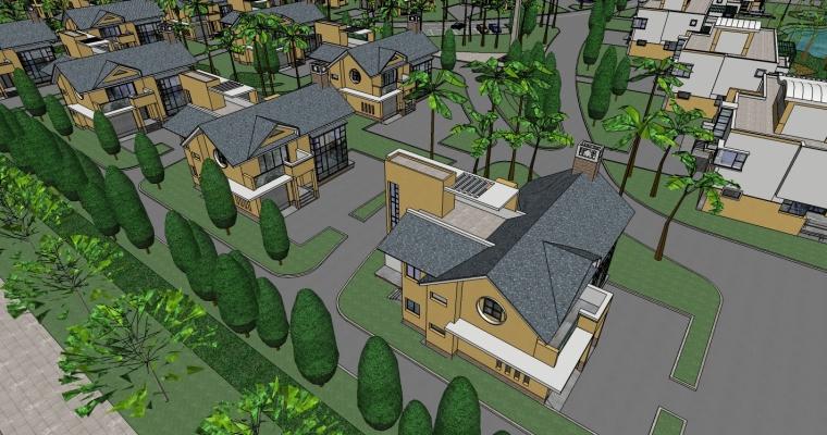 现代风格别墅/多层住宅小区规划精SU模型_2